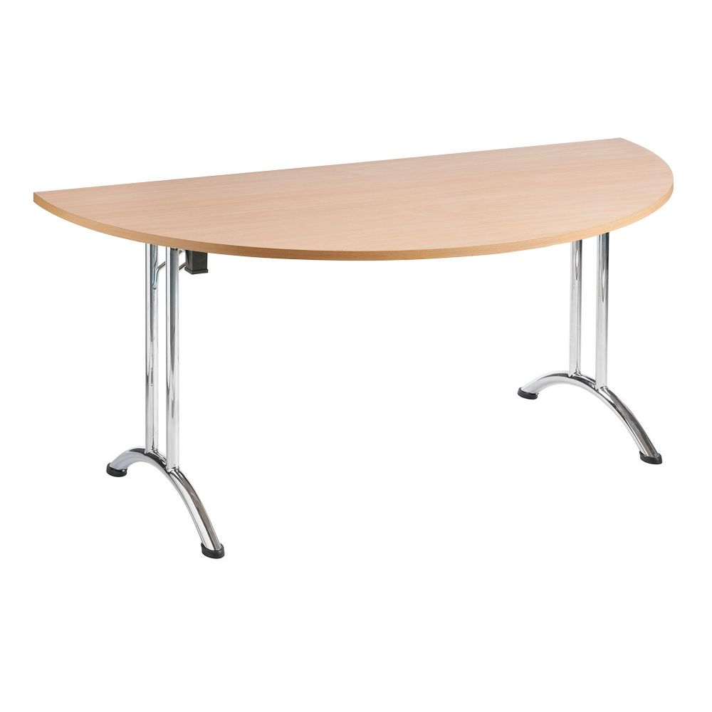 Semi Circular Folding Table 1600mm, Chrome Frame with Choice of Finishes RF04FDT-005